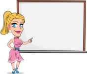 Simple Style Cartoon of a Blonde Girl Vector Cartoon Character - Making a Presentation on a Blank white board