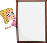 Simple Style Cartoon of a Blonde Girl Vector Cartoon Character - Making peace sign with Big Presentation board