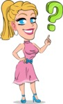 Simple Style Cartoon of a Blonde Girl Vector Cartoon Character - with Question mark