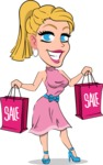 Simple Style Cartoon of a Blonde Girl Vector Cartoon Character - Holding shopping bags