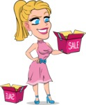Simple Style Cartoon of a Blonde Girl Vector Cartoon Character - with Sale boxes
