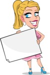 Simple Style Cartoon of a Blonde Girl Vector Cartoon Character - Holding a Blank banner