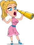 Simple Style Cartoon of a Blonde Girl Vector Cartoon Character - Looking through telescope
