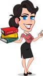Simple Style Cartoon of a Office Girl Vector Cartoon Character - with Books