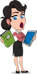 Simple Style Cartoon of a Office Girl Vector Cartoon Character - Choosing between Book and Tablet