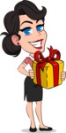 Simple Style Cartoon of a Office Girl Vector Cartoon Character - with Gift box