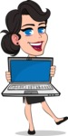 Simple Style Cartoon of a Office Girl Vector Cartoon Character - Showing a laptop