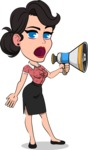 Simple Style Cartoon of a Office Girl Vector Cartoon Character - Holding a Loudspeaker