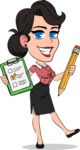 Simple Style Cartoon of a Office Girl Vector Cartoon Character - Holding a notepad with pencil