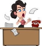 Simple Style Cartoon of a Office Girl Vector Cartoon Character - Stressed out