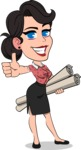 Simple Style Cartoon of a Office Girl Vector Cartoon Character - Holding Plans