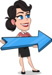 Simple Style Cartoon of a Office Girl Vector Cartoon Character - with Positive arrow