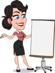 Simple Style Cartoon of a Office Girl Vector Cartoon Character - with a Blank Presentation board