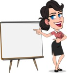 Simple Style Cartoon of a Office Girl Vector Cartoon Character - Pointing on a Blank whiteboard