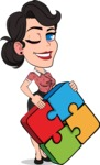 Simple Style Cartoon of a Office Girl Vector Cartoon Character - with Puzzle