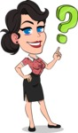 Simple Style Cartoon of a Office Girl Vector Cartoon Character - with Question mark