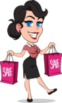 Simple Style Cartoon of a Office Girl Vector Cartoon Character - Holding shopping bags
