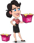 Simple Style Cartoon of a Office Girl Vector Cartoon Character - with Sale boxes