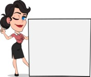 Simple Style Cartoon of a Office Girl Vector Cartoon Character - Holding a Blank sign and Pointing
