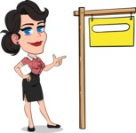Simple Style Cartoon of a Office Girl Vector Cartoon Character - with Blank Real estate sign