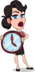 Simple Style Cartoon of a Office Girl Vector Cartoon Character - Holding clock