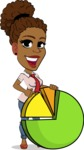 Flat Cartoon African-American Girl Vector Character - with Business graph