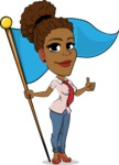 Flat Cartoon African-American Girl Vector Character - with Flag