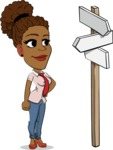 Flat Cartoon African-American Girl Vector Character - on a Crossroad with sign pointing in all directions