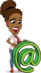 Flat Cartoon African-American Girl Vector Character - with Email sign
