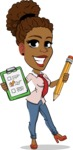 Flat Cartoon African-American Girl Vector Character - Holding a notepad with pencil