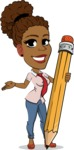 Flat Cartoon African-American Girl Vector Character - Holding Pencil