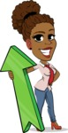 Flat Cartoon African-American Girl Vector Character - with Up arrow