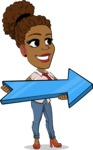 Flat Cartoon African-American Girl Vector Character - with Positive arrow