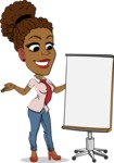 Flat Cartoon African-American Girl Vector Character - with a Blank Presentation board