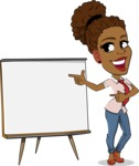 Flat Cartoon African-American Girl Vector Character - Pointing on a Blank whiteboard