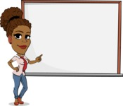 Flat Cartoon African-American Girl Vector Character - Making a Presentation on a Blank white board