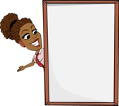 Flat Cartoon African-American Girl Vector Character - Making peace sign with Big Presentation board