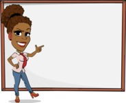 Flat Cartoon African-American Girl Vector Character - Showing on Big whiteboard