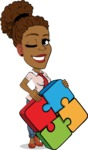 Flat Cartoon African-American Girl Vector Character - with Puzzle