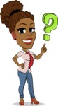 Flat Cartoon African-American Girl Vector Character - with Question mark