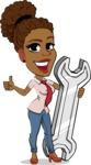 Flat Cartoon African-American Girl Vector Character - with Repairing tool wrench