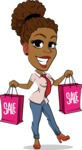 Flat Cartoon African-American Girl Vector Character - Holding shopping bags