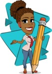 Flat Cartoon African-American Girl Vector Character - Shape 6