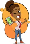 Flat Cartoon African-American Girl Vector Character - Shape 7