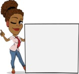 Flat Cartoon African-American Girl Vector Character - Holding a Blank sign and Pointing
