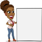 Flat Cartoon African-American Girl Vector Character - Showing Big Blank banner