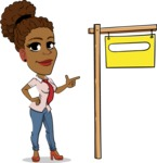 Flat Cartoon African-American Girl Vector Character - with Blank Real estate sign