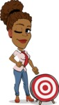 Flat Cartoon African-American Girl Vector Character - with Target