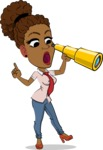 Flat Cartoon African-American Girl Vector Character - Looking through telescope