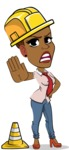 Flat Cartoon African-American Girl Vector Character - as a Construction worker